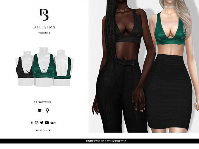Underwired Satin Crop Top By Bill Sims