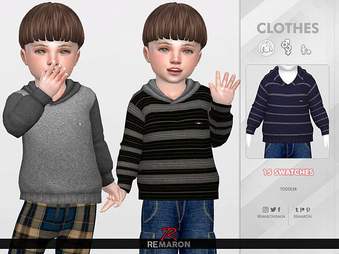 Sims 4 Simple Hoodie for Toddler 01 by remaron at TSR