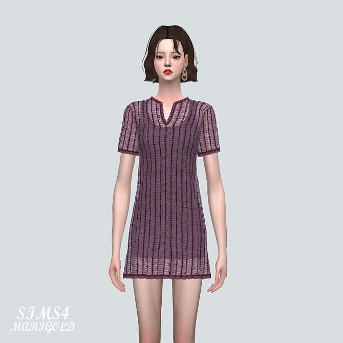 Sims 4 Knit Mini Dress at Marigold