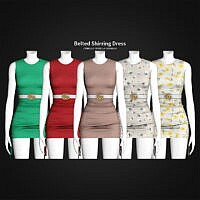 Belted Shirring Dress