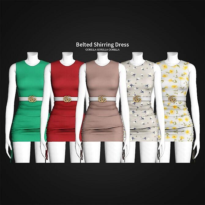 Sims 4 Belted Shirring Dress at Gorilla