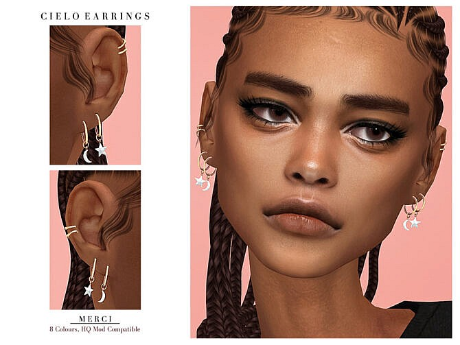 Sims 4 Cielo Earrings by Merci at TSR