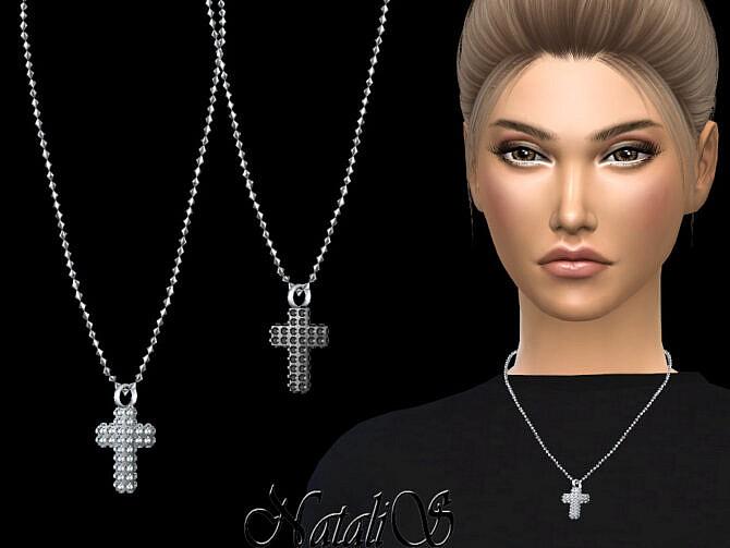 Sims 4 Diamond pave cross pendant by NataliS at TSR