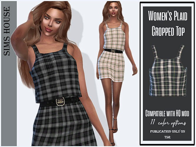 Plaid Cropped Top By Sims House