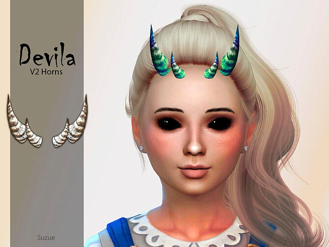 Sims 4 Devila Child Horns V2 by Suzue at TSR