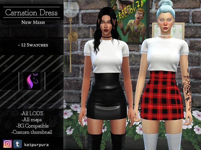 Sims 4 Carnation Dress by KaTPurpura at TSR