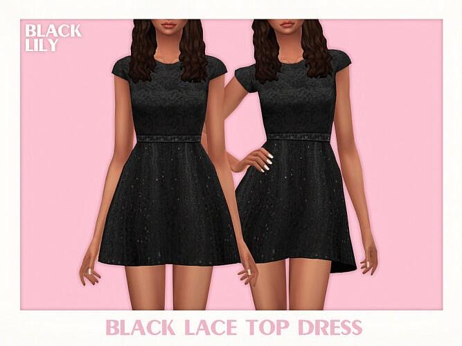 Black Lace Top Dress By Black Lily