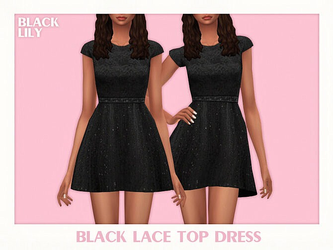 Sims 4 Black Lace Top Dress by Black Lily at TSR