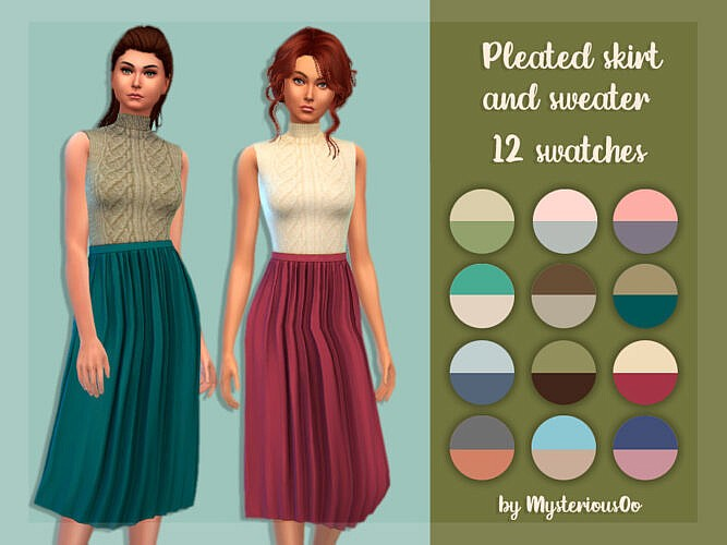 Pleated Skirt And Sweater By Mysteriousoo