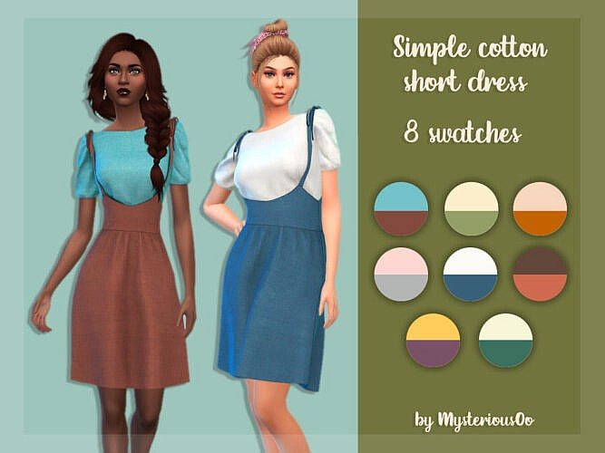 Simple Cotton Short Dress By Mysteriousoo