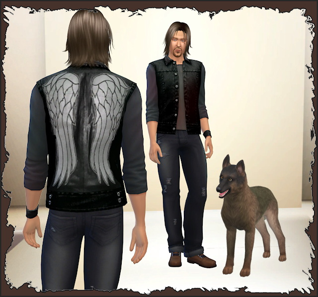 Sims 4 TWD Daryl Dixon and the dog by Chalipo at All 4 Sims