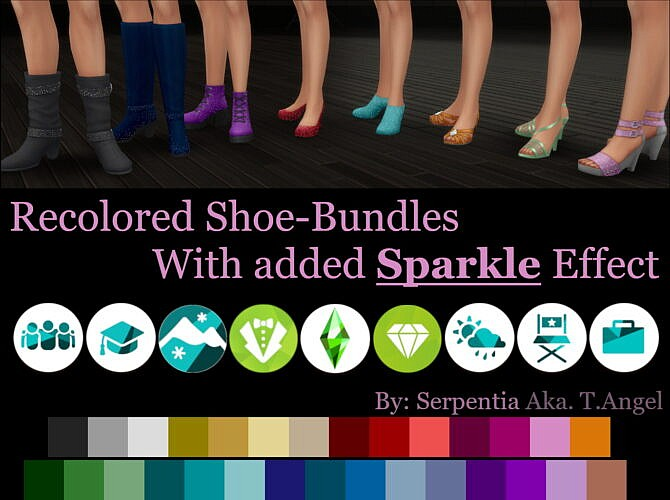 Sims 4 Recolored Shoe Bundles With Sparkle Effect by Serpentia at Mod The Sims 4