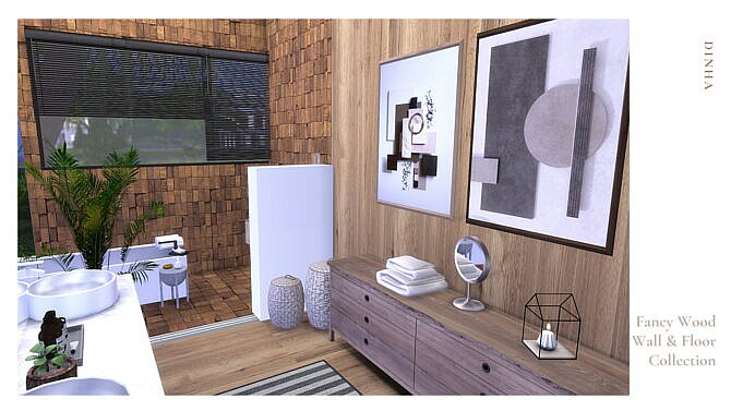 Sims 4 Fancy Wood Wall & Floor at Dinha Gamer
