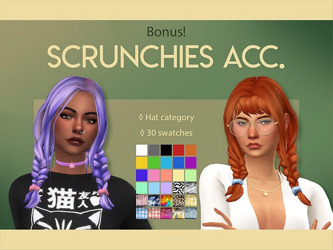 Sims 4 Anna and Annie Scrunchies by feralpoodles at TSR