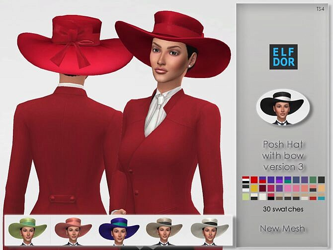 Sims 4 Posh Hat with bow version 3 at Elfdor Sims