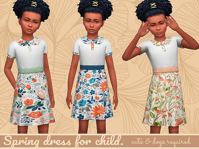 Sims 4 Spring dress for Child at Frenchie Sim