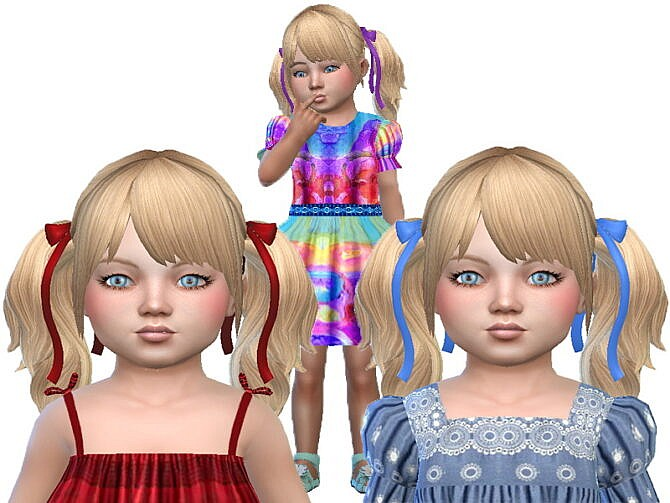 Sims 4 Blond pony bow toddler hair at Trudie55