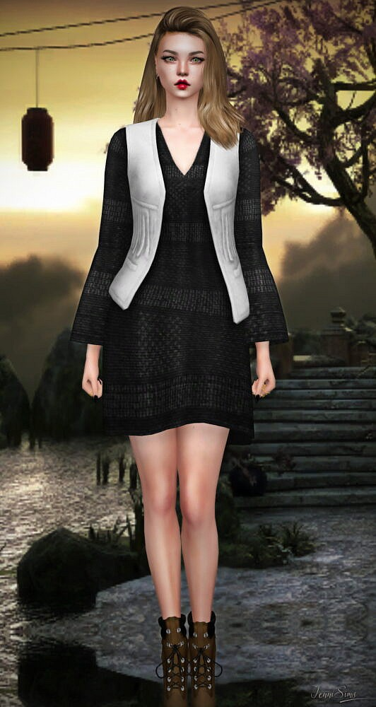 Sims 4 Dress with Vest at Jenni Sims