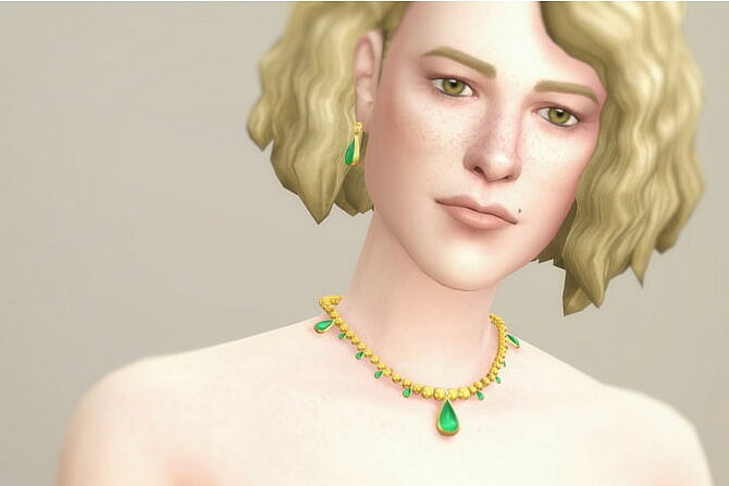 Sims 4 Gem and pearl drop earrings & necklace I at Rusty Nail