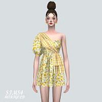 Unbalance Puff Sleeves Mini Dress