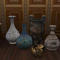 Jars, Vases, Gilded Console & Little Mirror