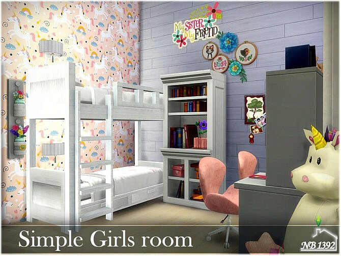 Sims 4 Simple Girls room by nobody1392 at TSR