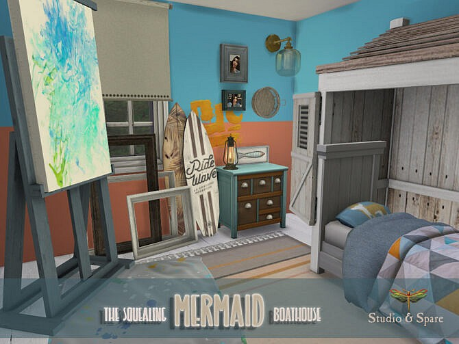 Sims 4 The Squealing Mermaid Boathouse Spare & Studio by fredbrenny at TSR