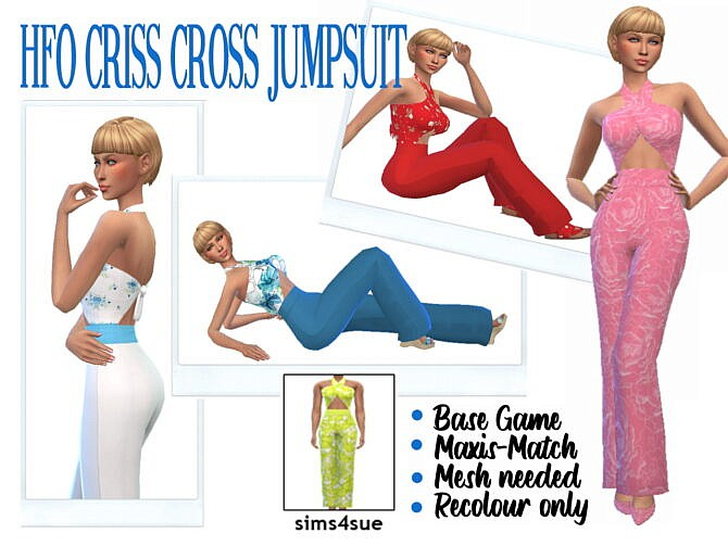 Sims 4 HFO's CRISS CROSS JUMPSUIT at Sims4Sue