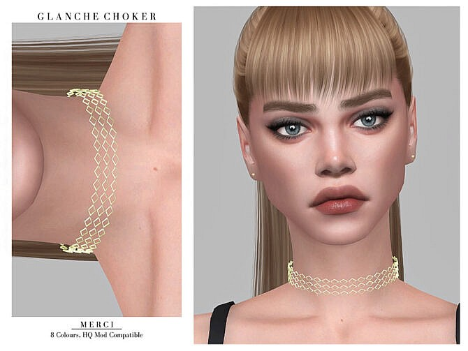 Sims 4 Glanche Choker by Merci at TSR