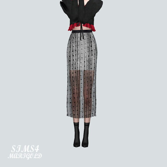 Sims 4 Accordion Long Skirt ST 3 at Marigold