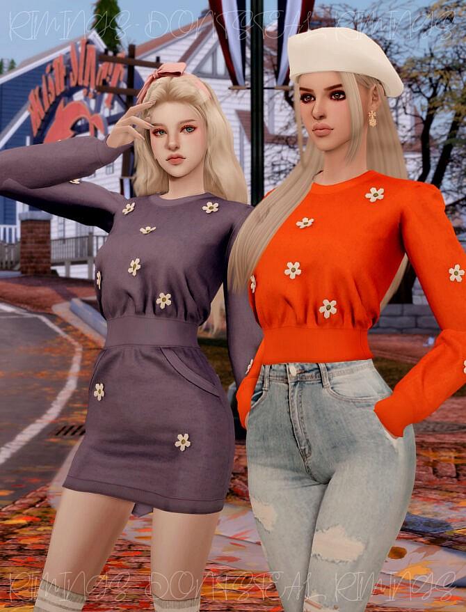 Sims 4 Flower Knit Dress & Top at RIMINGs