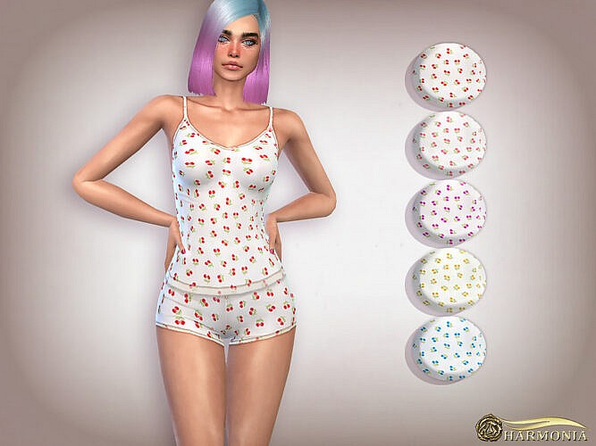 Cherry Print Cami Shorts Pj Set By Harmonia