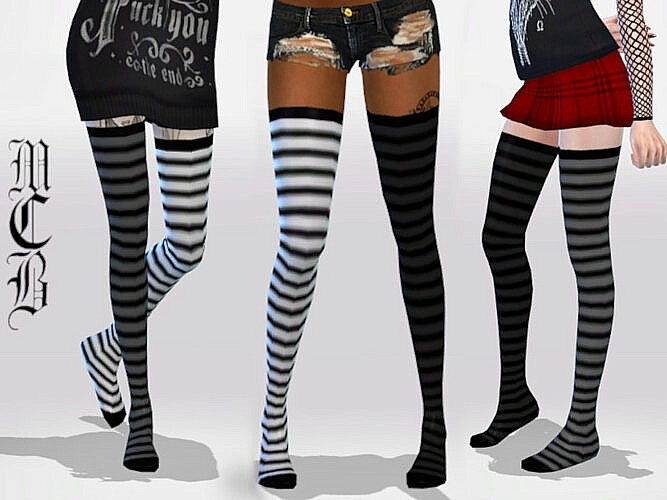 Long Mix Matched Stripe Knee Socks By Maruchanbe