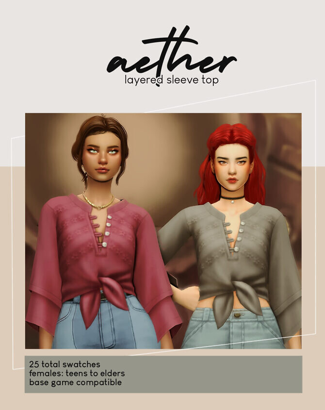 Sims 4 Aether layered sleeve top at Viiavi