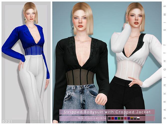 Sims 4 Stripped Bodysuit with Cropped Jacket by DarkNighTt at TSR