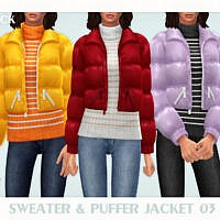 Sweater & Puffer Jacket 03 By Black Lily