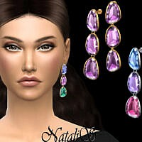 Mixed Color Gemstone Drop Earrings By Natalis