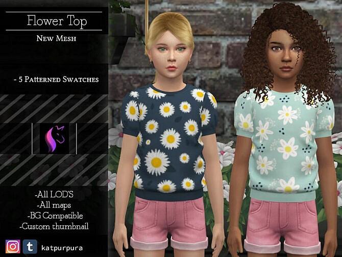 Sims 4 Flower Top by KaTPurpura at TSR