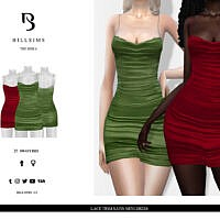 Lace Trim Satin Mini Dress By Bill Sims