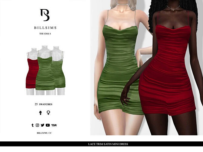 Sims 4 Lace Trim Satin Mini Dress by Bill Sims at TSR