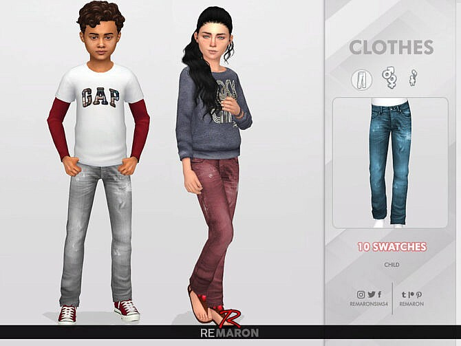Sims 4 Denim Pants for Child 01 by remaron at TSR