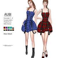 Aubi Plaid Punk Mini Dress By Helsoseira