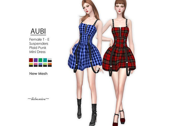 Aubi Plaid Punk Mini Dress By Helsoseira
