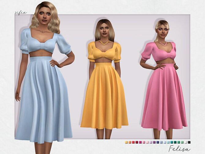 Sims 4 Felisa Dress by Sifix at TSR