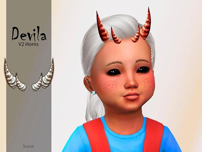 Sims 4 Devila Toddler Horns V2 by Suzue at TSR