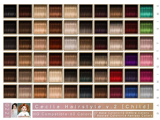 Sims 4 Cecilia Hairstyle V2 Toddler by DarkNighTt at TSR