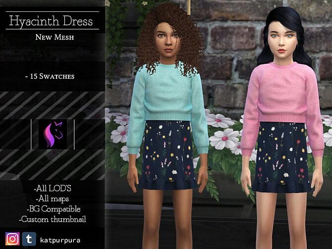 Sims 4 Hyacinth Dress by KaTPurpura at TSR