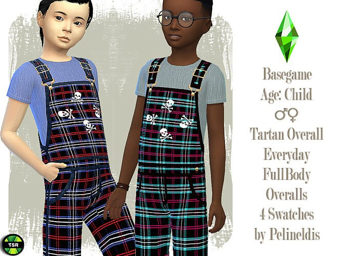 Tartan Long Overall For Kids By Pelineldis