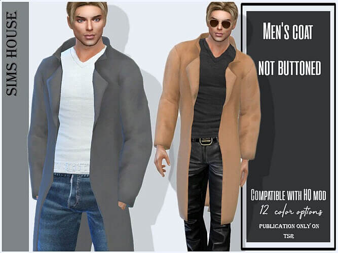 Men's Coat Not Buttoned By Sims House