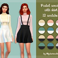 Pastel Sweater With Skirt By Mysteriousoo